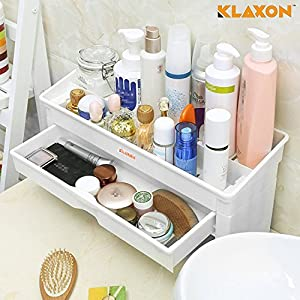 Klaxon Bathroom Cosmetic Organizer/Bathroom Accessories Shelves/Bathroom Storage Rack -with Drawer-White