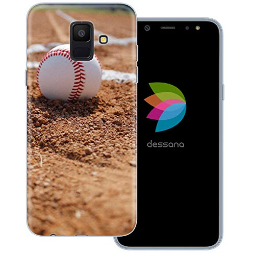 dessana Baseball Transparente Schutzhülle Handy Case Cover Tasche für Samsung Galaxy A6 (2018) Pitcher Ball Mlb Baseball-handy