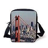 KLYDH United States,San Francisco Bridge and Cityscape Metropolis Financial District,Orange Baby Blue White Print Kids Crossbody Messenger Bag Purse