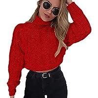 Jerséy de BaZhaHei, Cuello Alto de Invierno Sexy para Mujer con cordón Umbilical Suéter de Jersey de Punto Casual suéter de Talle Umbilical Sexy con Cuello Alto y Manga Larga Corta para Mujer Blusa
