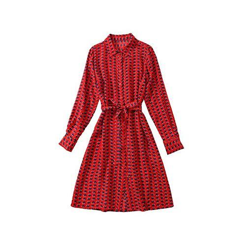 Rocke Frauen Herz Print gerade Taille Lace Trim Seidenkleid Frühling und Sommer Seide Midirock (Farbe : Red, Size : S) -