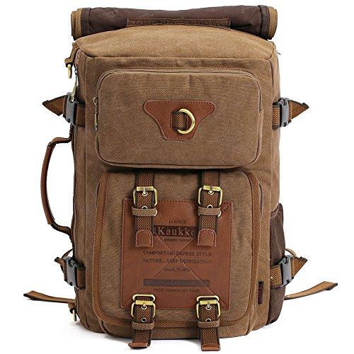 KAUKKO Vintage Toile sac à dos hommes et femmes Casual d'escalade voyage plein air Alpinisme Sac à dos avec une grande capacité