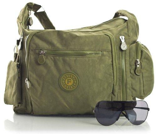Big Handbag Shop Sac bandoulière léger en tissu Poches multiples Taille M - Vert - Olive Green, One