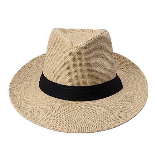 Strand große Krempe Jazz Sonnenhut Panama Hut Papier Stroh Frauen Männer Kappe mit schwarzem Band ()