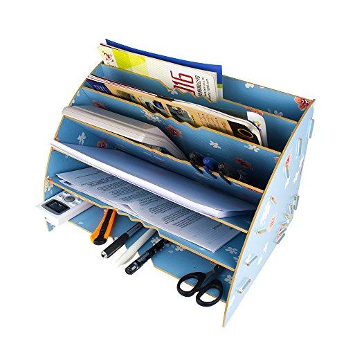 XYXtech abnehmbare Desktop-Aufbewahrungsbox Holzbrett DIY Organizer Regal Bürozubehör Speicher Magazin Rack CD Halter Schreibtisch Tidy Incorporated Rack (6-Tier) (Tier Schreibtisch-organizer)