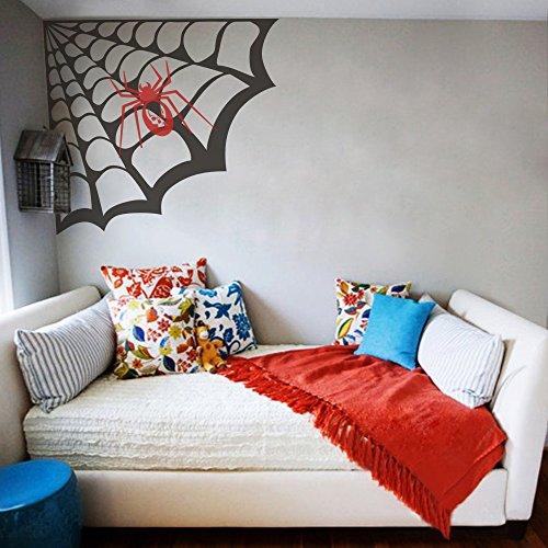 Geckoo Größere Spider Web Wand Aufkleber Play Zimmer Aufkleber Creative Halloween Vinyl Kunst Raum Ecke Aufkleber (Large, Spider Web-Black; Spider-Tomato rot) (Spider Ecke Halloween Web)