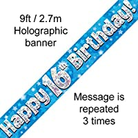 16th Birthday Blue Holographic Banner by Signature Balloons