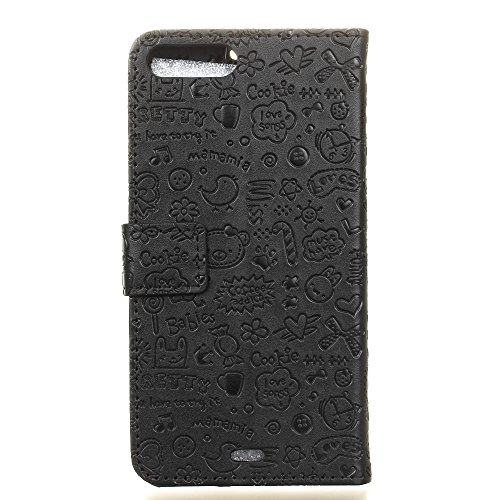 Custodia per iPhone 7 Plus,Gray Plaid Design [Shock-Absorption] PU Pelle Flip Card Holder Portafoglio Wallet Case Cover per iPhone 7 Plus Caso - Nero Nero