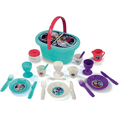 Unbekannt Disney Frozen die Eiskönigin Puppenservice im Picknick-Korb für Kinder ab 3 Jahren • Picknickkorb Puppen Geschirr Service Spielzeug Spiel Küche