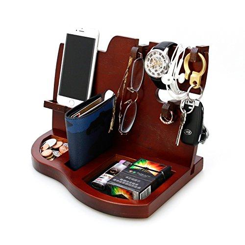 Pomcat Herren-Dockingstation mit Schlüsselhalter, Geldbörse und Uhren-Organizer, Holz, Rot