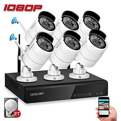 YESKAMO CCTV Camera Security Systems 1080P HD Wireless 6pcs IP Cameras Auto Pair NVR Recorder with Motion Activated Mobile App Remote View for Outdoor Home Surveillance Kit with 2TB Hard Drive