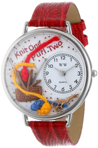 Quartz 0410003 White Watches Silvertone Red Multicolour And Dial Unisex Analogue U Whimsical With Leather Display Strap Knitting Watch CxedrBo