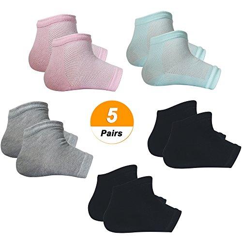SelfTek 5 Paar feuchtigkeitsspendende Gel-Fersensocken Belüften Sie offene Socken für trockene, harte, rissige Haut