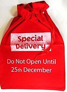 Sac de Père Noël avec Special Delivery'et Do Not Open Until 25th December introductive