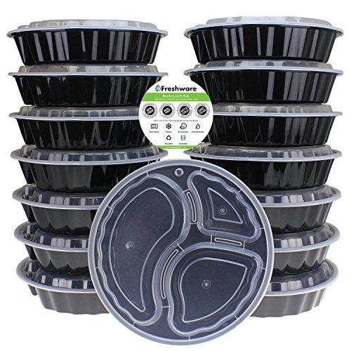 Freshware 15er Pack 9Zoll rund 3fach Bento Lunch-Boxen mit Deckel-Verwendung für Mahlzeit Prep, Teil Kontrolle, 21Tag Fix, und Frischhaltedosen (900ml) Polycarbonat Food Storage Box