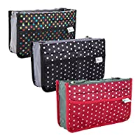 Periea Handbag Organiser (Pack of 3), 13 Compartments - Chelsy (Black/White, Red/White, Black/Multicoloured)