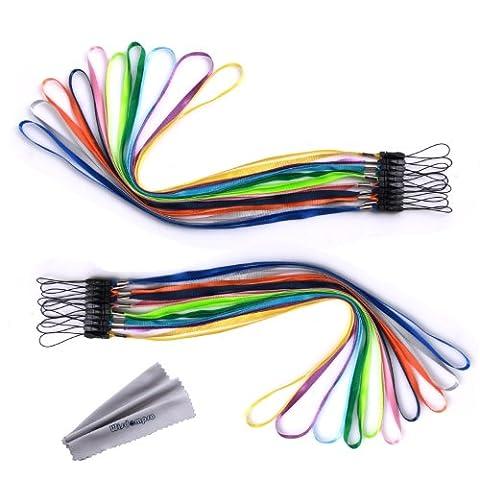 Wisdompro® Lot de 10dragonnes de cou ou de poignet colorées pour téléphone portable, appareil photo, clé USB, clés, porte-clés, badge, jeu vidéo ou autres objets portablesCouleurs assorties