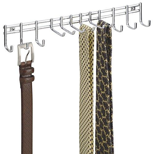 mDesign Hakenleiste wandmontiert ? praktischer Krawattenhalter, Gürtelhalter ? für Tücher, Taschen und Accessoires ? Wandmontage, chromfarben