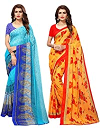 Mrinalika Fashion Combo Of Women's Georgette Sarees With Blouse Piece (Multi-Coloured_Free Size)