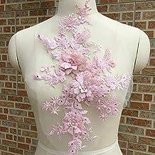 1d05765a2a6a floreale toppe da sposa in pizzo Appliques ricamo fiore pizzo applique  perline perla tulle pizzo applique