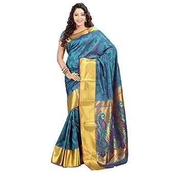 Varkala Paithani Big Border Peacock Pallu Saree, Dual Colour Rama-Violet