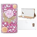 Evtech (tm) Schmetterling Blumen Strass Bling Kristall Glitter-Buch-Art-Folio-PU-Leder-Mappen-Kasten mit Handtasche Handyhalter & Kartensteckplätze for Samsung Galaxy S6