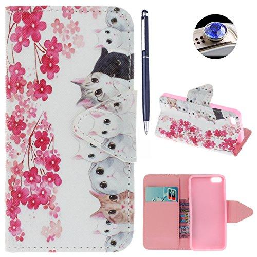 iPhone SE hülle iPhone 5 hülle iPhone 5S hülle ,AyiHuan Painted Muster PU Leder Folio Magnetverschluss Flip Case Wallet mit Kartenfach und Standfunktion für Apple iPhone SE / 5S / 5,L3 L2