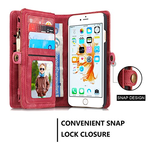 SDDMALL CaseMe abnehmbare Reißverschluss-Mappen-Leder-Kasten für Apple IPhone 6S 4.7 ( Color : Black ) Red