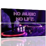 Feeby NO MUSIC NO LIFE Mehrteilige Wandbild Deco Panel 2 Telige Bild, Größe: 100x70 cm, TYPOGRAFIE MUSIK VIOLETT