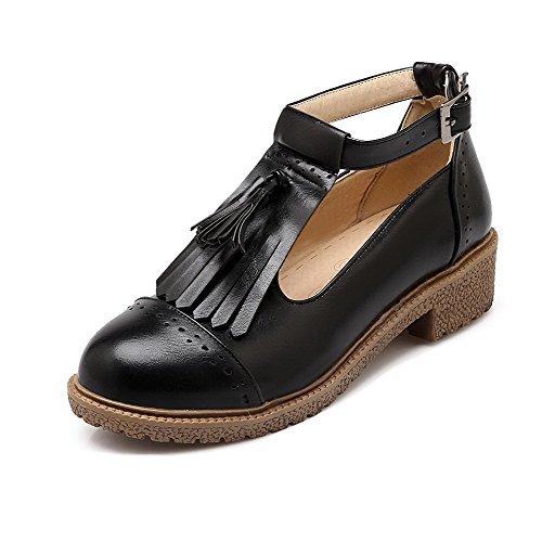 AllhqFashion Femme Rond à Talon Bas Matière Souple Couleur Unie Boucle Chaussures Légeres Noir
