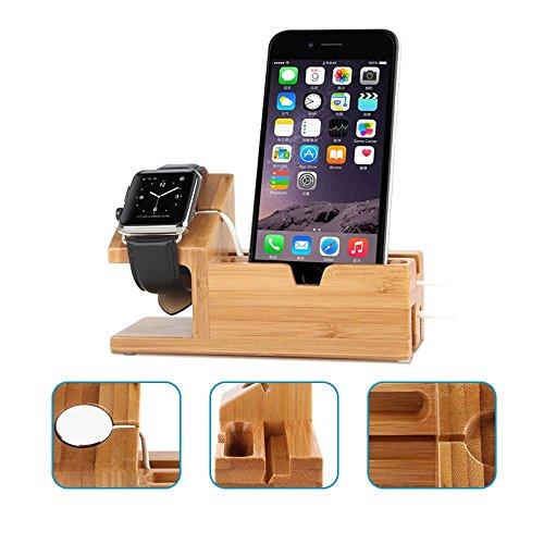 Efanr bambù legno 3porte usb stazione di ricarica multifunzione caricabatteria da tavolo dock supporto supporto per iphone 7/6s/6/5s smartphone apple watch 38mm/42mm