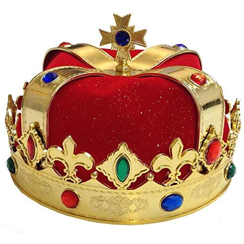 NEU Krone König mit rotem (Erwachsene Krone Samt König)