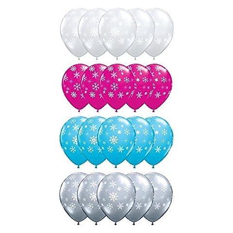 20x Schneeflocken & Sparkles 30,5cm Latex Luftballons (Pink, Blau, Silber
