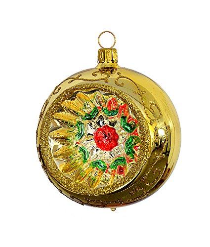 Thüringer natale 52-077 christ albero sfera con reflex, 8 cm, oro, reflex multicolore, 2 pcs