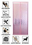 Liveinu Isolamento Termico Tenda Magnetica Per Porte Zanzariera Magnetica Con Thermo Per Camera Climatizzata Impermeabile Rete Anti Zanzare 220x200cm Rosa
