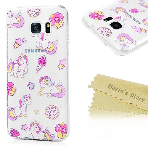 Samsung Galaxy S7 Edge Hülle TPU Silikon Handyhülle Schutzhülle Mavis's Diary Schale Etui Bumper Protective Case Back Cover Rück Einhorn (Spitze Ruck)