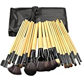 Rioa 24 Pcs Professional Synthetic Hair Cosmetic Makeup Brush Set Kit Wood Brushes Tools Make Up With Case