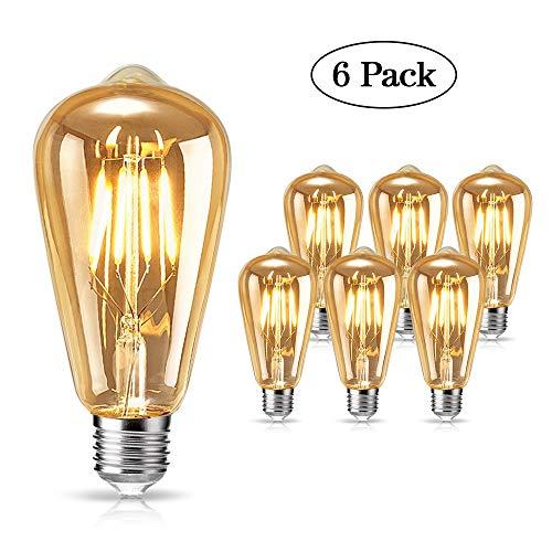 tonitott Edison Vintage Glühbirne, Edison LED Glühbirne E27 4W Warm Licht Vintage Antike Glühbirne Retro Filament Lampe für Nostalgie und Retro Beleuchtung im Haus Café Bar usw - 6 Stück