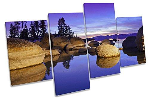Lake Tahoe Sunset lila multi Leinwand Wand Art Box Rahmen Druck Bild, 160cm wide x 90cm high