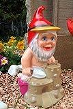 Gartenzwerg Sandburg aus bruchfestem PVC Zwerg Made in Germany Figur Karotte Spaten