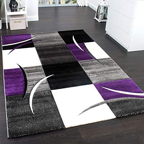 Paco Home Alfombra De Diseño Perfilado - A Cuadros En Lila Gris Negro, tamaño:80x150 cm