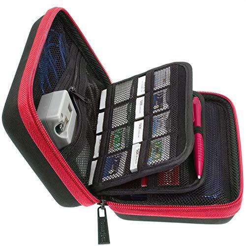 3DS XL, 2DS XL und 3DS Tragetasche mit 24Spiel Patronenhalter und große Stift-Rot/Schwarz ()