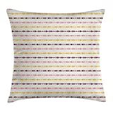 VVIANS Retro Throw Pillow Cushion Cover, Artful Mixed Abstract Bunch of Unusual Pattern Featured Display, Decorative Square Accent Pillow Case, 18 X 18 inches, Light Pink Marigold Cream Plum