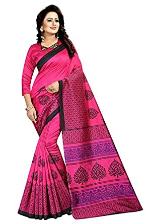 Rensila Women's Mysore Art Silk Sarees With Blouse Piece (GR_Mohabbatein_Pink)