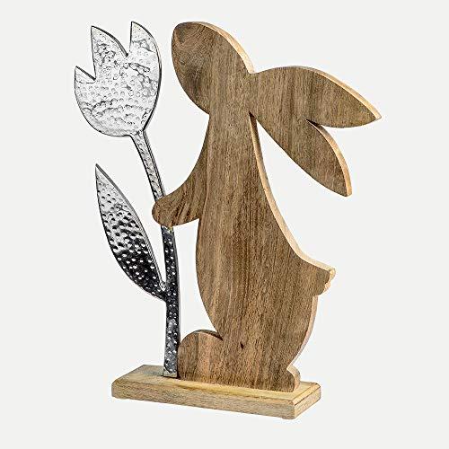 Formano Deko-Hase mit Blume aus Mangoholz und Alu, Länge: 40 cm, Breite: 10 cm, Höhe: 50 cm, Braun-Silber, 1 Stück