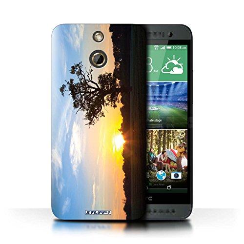 Kobalt® Imprimé Etui / Coque pour HTC One/1 E8 / Bateau de pêche conception / Série Coucher du Soleil Bleu Chêne