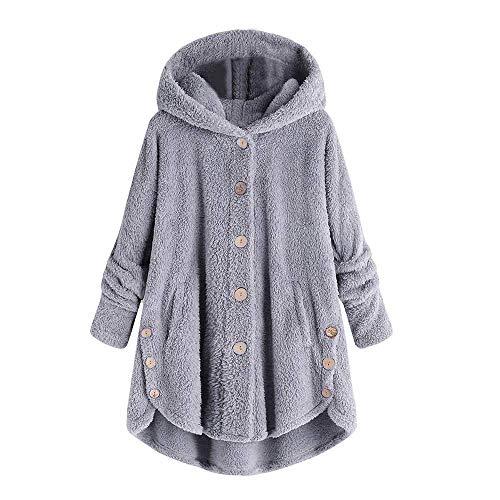 Kneris Damen Einfarbig Jacke Flauschige Mantel Fleece Fell Wärme Sweatshirt Kapuzenpullover mit Knöpfen Mode Elegant Streetwear Fleece-fell-pullover