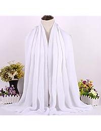 SLR Foulard Universal de Cuatro Estaciones, pañuelo de Moda, pañuelo Largo árabe,Blanco