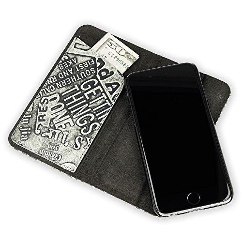 QIOTTI >             Apple iPhone 6 PLUS / 6S PLUS (5,5&quot;)             < incl. PANZERGLAS H9 HD+ Stylisch 2in1 Magnetisch Booklet Wallet Case Hülle Tasche aus echtem Leder / Prägung mit Notenfach in SCHWARZ GRAU