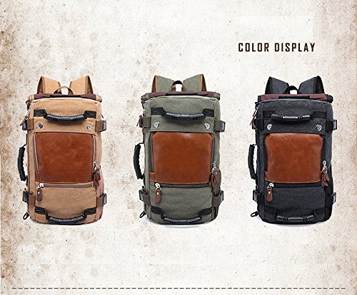 Best canvas backpack in India 2020 MOCA 4in1 Canvas casual Backpack Vintage Military Messenger Hiking Camping outdoor Trip Tour Travel Duffel Shoulder Casual Bag BackPack Rucksack 0208 (Inexperienced) Image 3